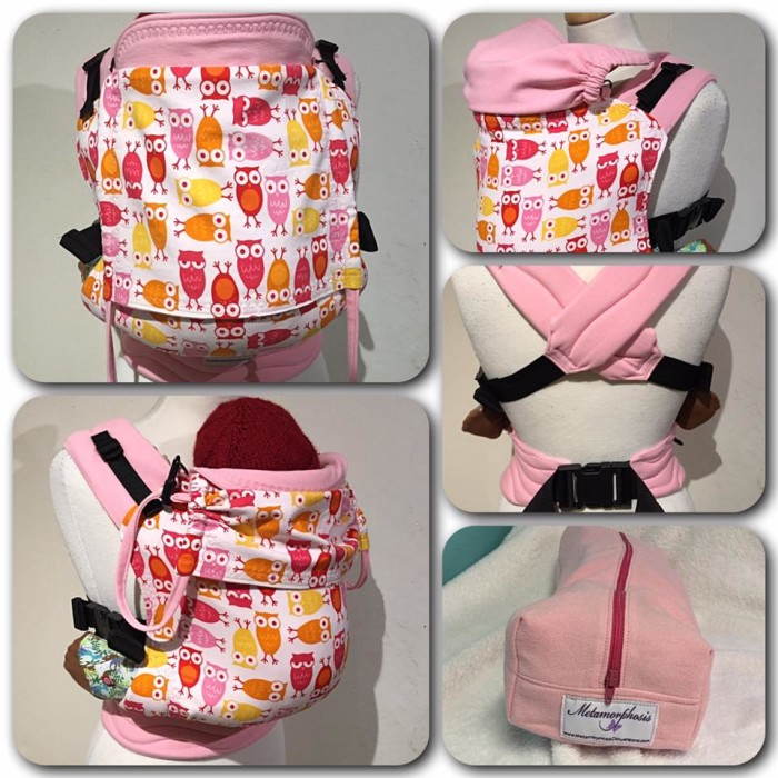 """15"""" Full buckle carrier with pink owls print"""