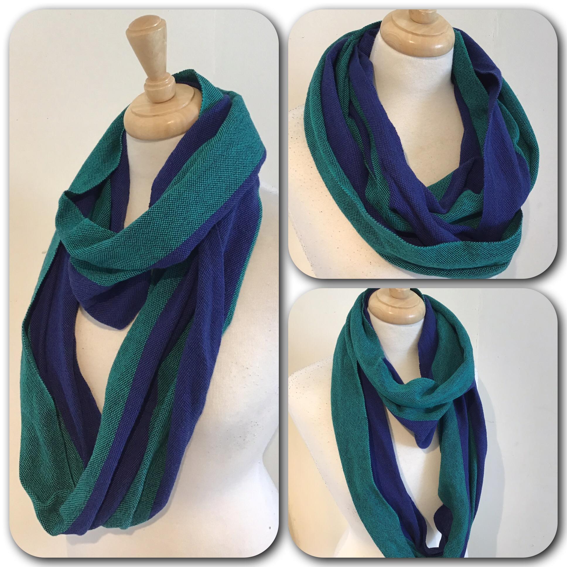 Handwoven double loop infinity scarf