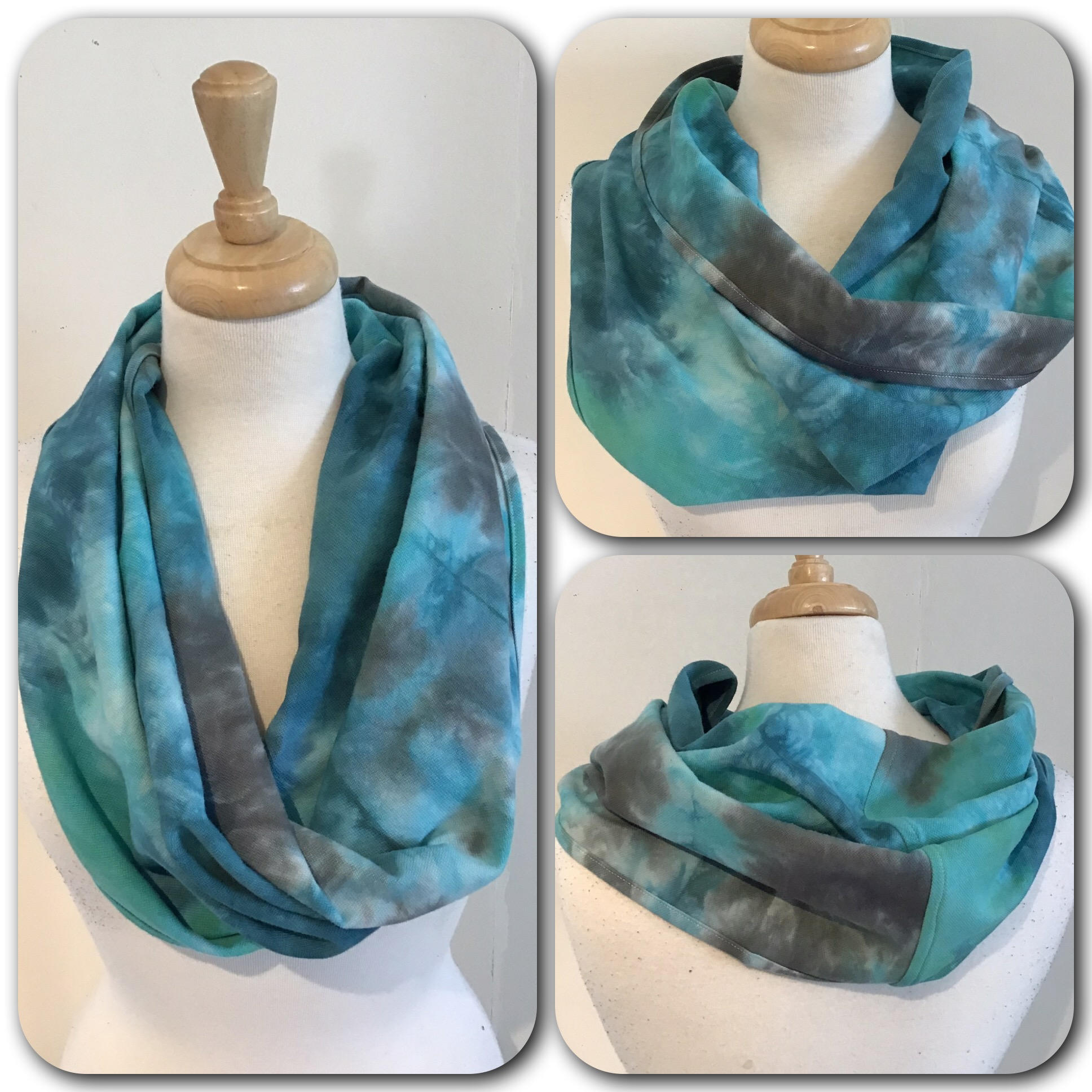 Hand dyed C&C wrap cowl with infinity twist